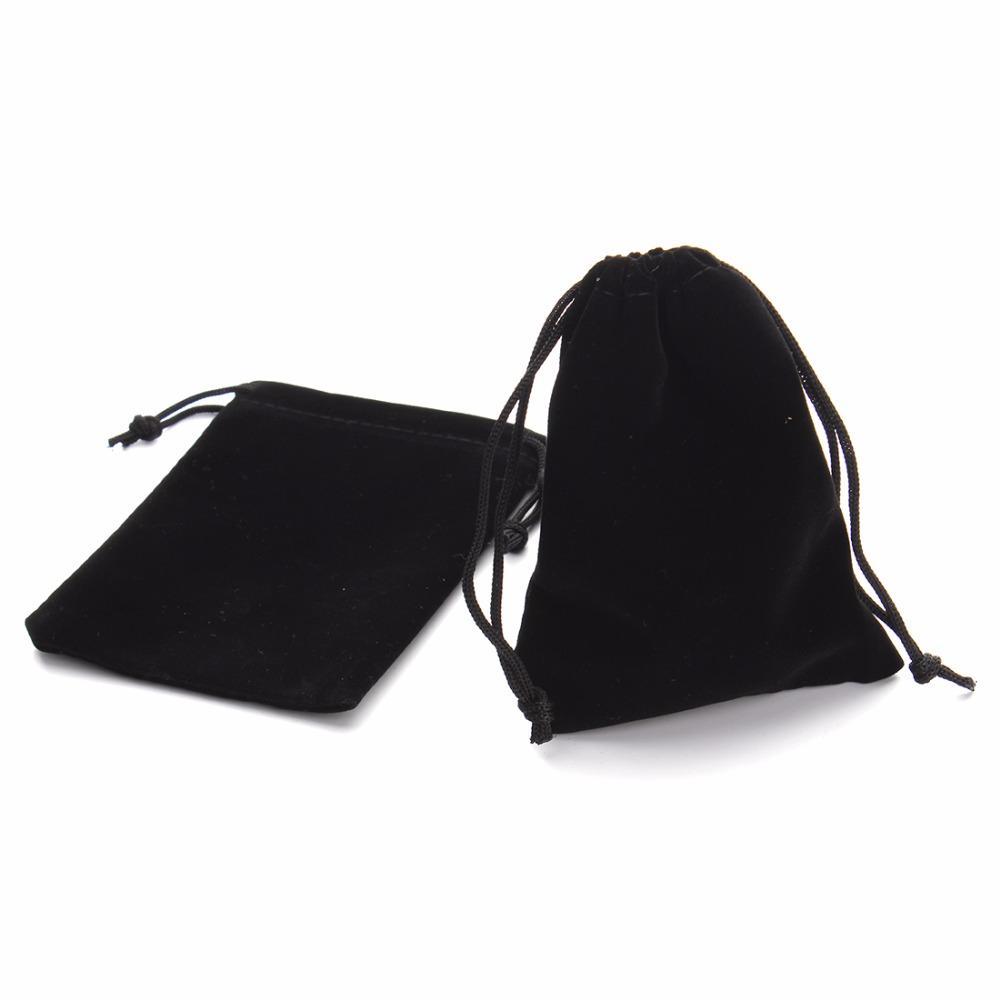 LOULEUR 7*9cm 9*12cm Black Velvet Bag Drawstring Pouch Bags Fashion Jewelry Packaging Christmas/Wedding Gfit Bag