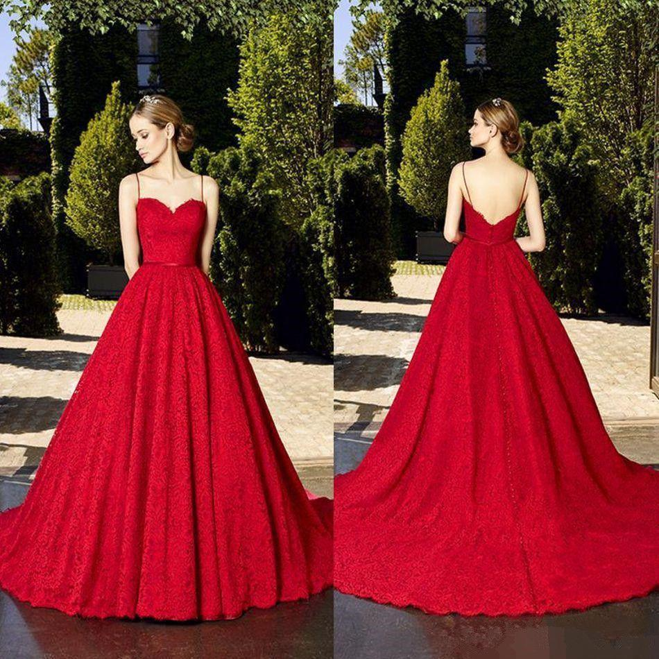 Red Lace Spaghetti Strap Pageant Evening Dresses Women's Custom Elegant Bridal Gown Special Occasion Prom Bridesmaid Party Dress