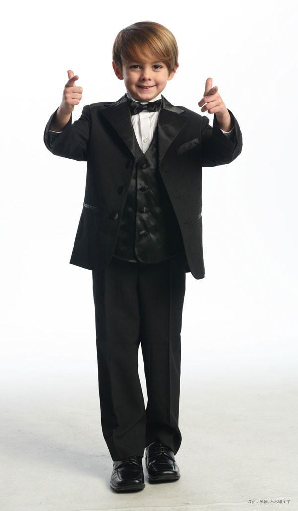 d7329c2a5 High Quality Three Buttons Black Notch Lapel Boy's Formal Wear Occasion  Kids Tuxedos Wedding Party Suits (Jacket+Pants+Vest+Tie) K26