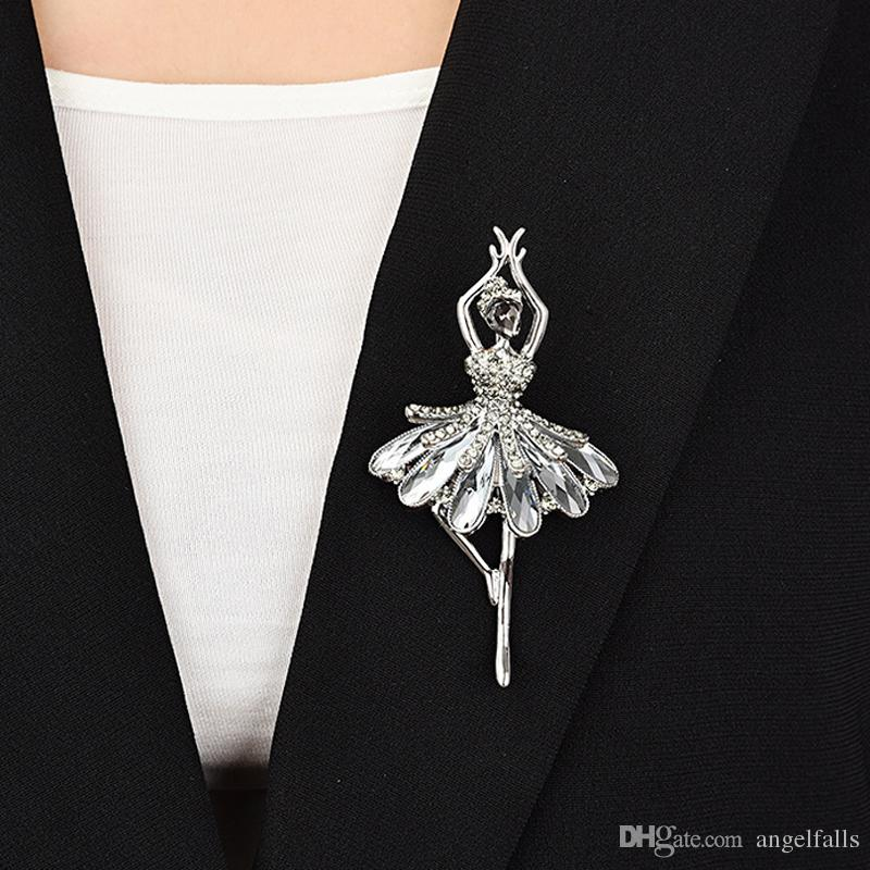 2018 Elegant Angel Dancing Girl Rhinestone Brooch Women Girls Bling Bling Fashion Model Design Brooch Suit Lapel Pin Gift For Love From Angelfalls
