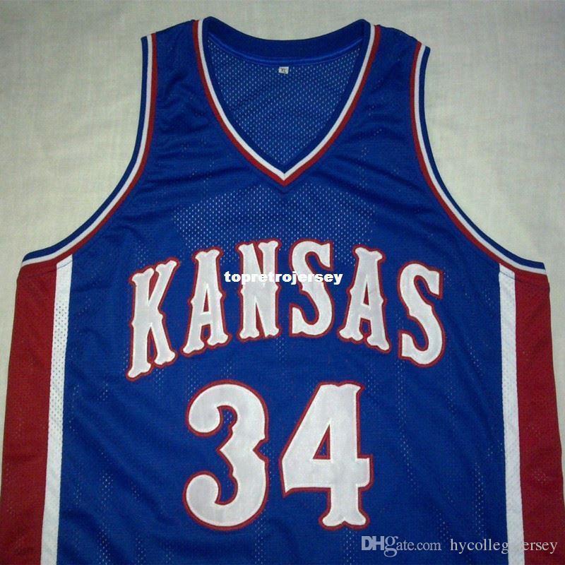 best service b65bf 63e37 Cheap custom PAUL PIERCE Kansas Jayhawks Blue Basketball Jersey Embroidery  Stitched Customize any size and name