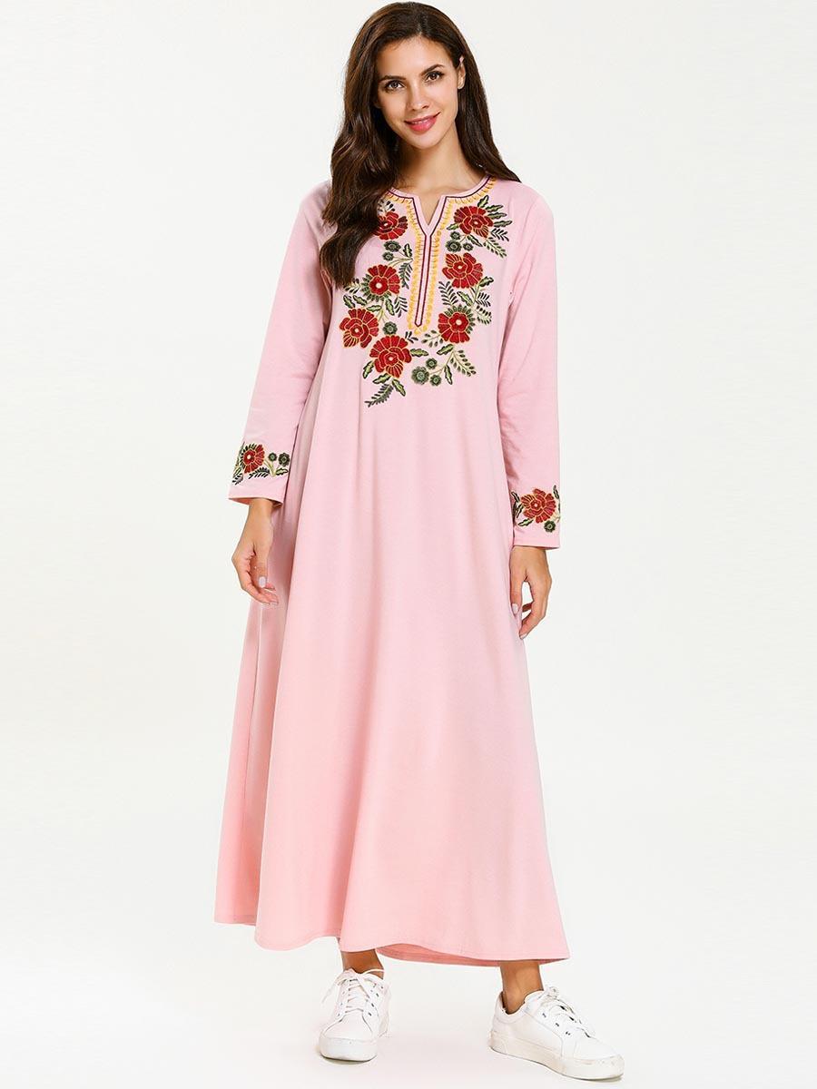 a56b75b3d540 Compre 7670 Rosa Ramadán Vestido Mujeres Musulmanas Abaya Femme Dubai Turco  Turquía Bangladesh Kaftan Ropa Islámica Flores Bordado Bata A $24.63 Del ...