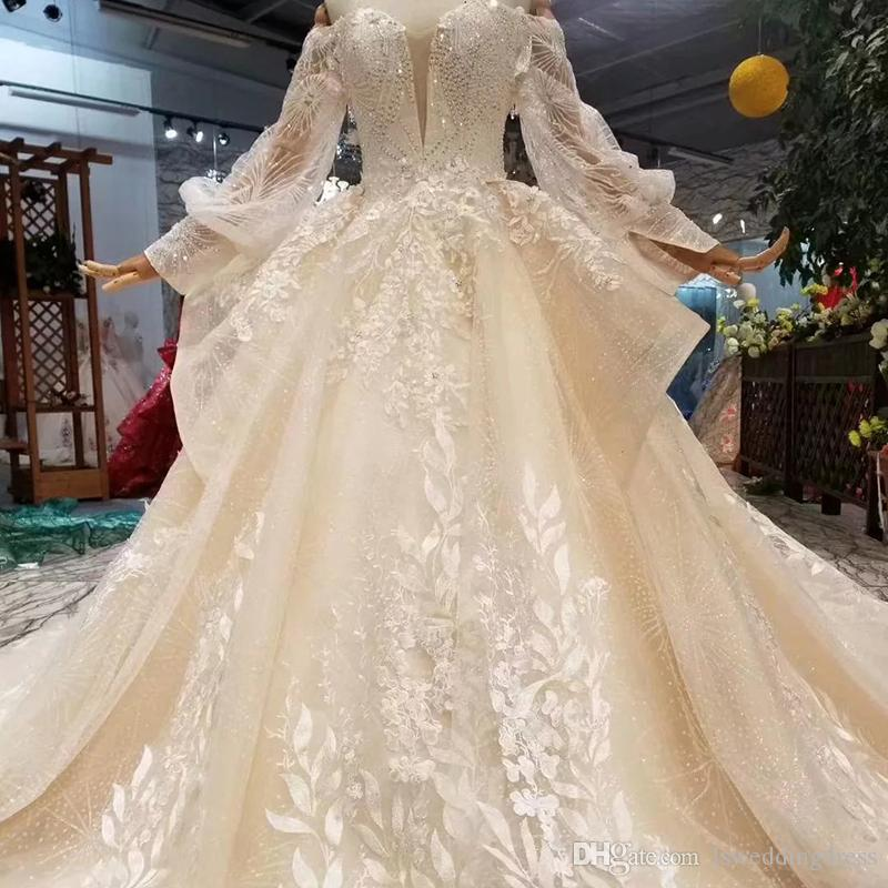 476d0bc8ae Discount 2019 Princess Wedding Gowns With Ruffle Style Long Tulle Sleeve  Lace Up Back Sweetheart Wedding Dresses Ball Gown New Fashion Design  Croatia Cheap ...
