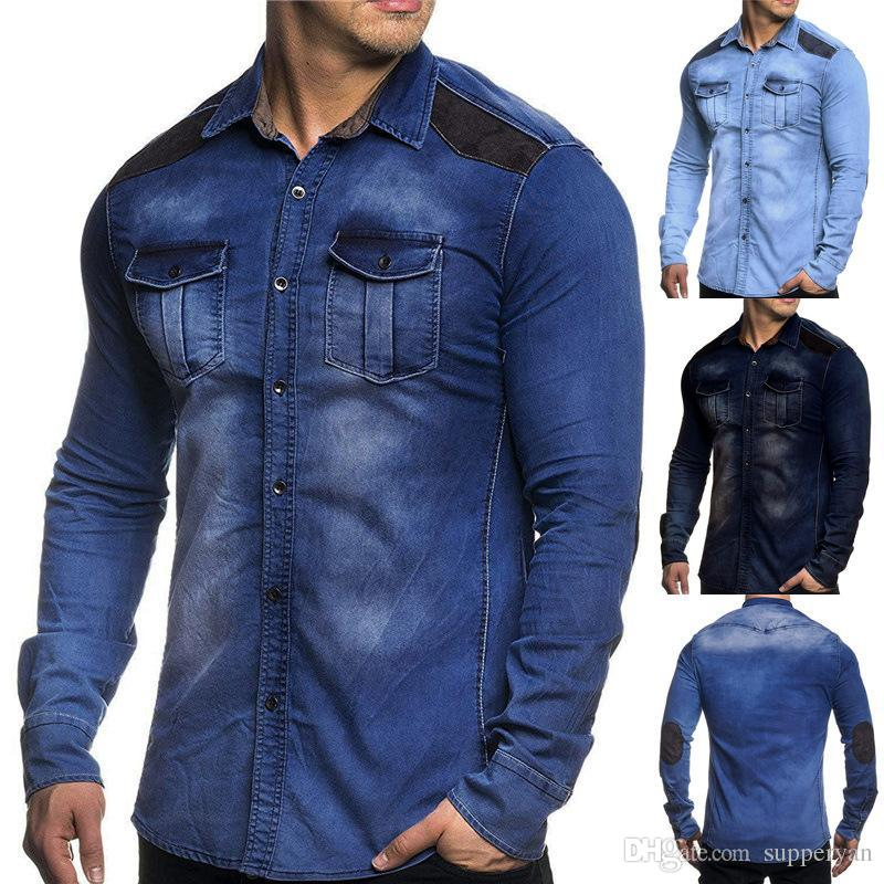 8772f6427 2019 Men Washed Demin Shirts Long Sleeves Slim Fit Jean Shirts For Men  Cowboy Tees Tops Classic Casual Hombre Outerwear J181203 From Supperyan