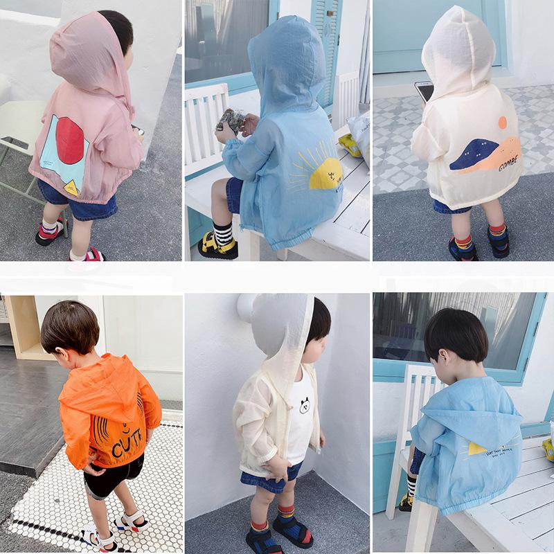 Children's sun protection clothing 2019 summer new boys and girls baby long-sleeved jacket hooded printing air-conditioning shirt