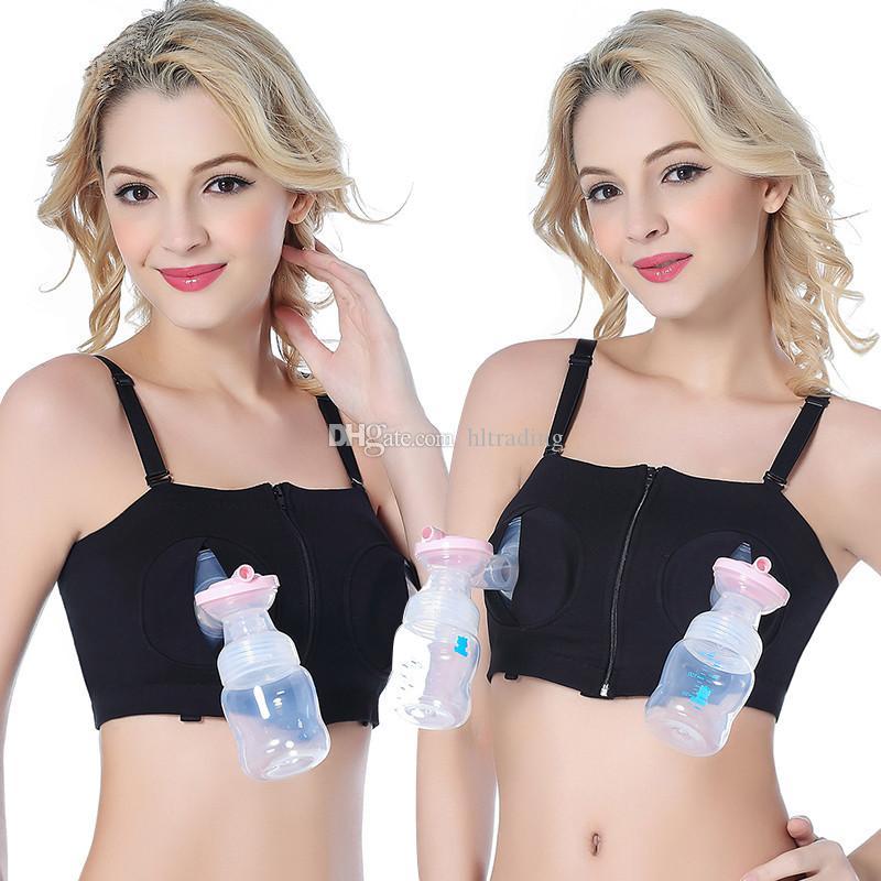 42c95a570 Compre Maternidad Sin Anillo De Acero Sujetador Para Amamantar Push Up Manos  Libres Sujetador De Bombeo Mujer Embarazada Sujetador De Lactancia Ropa ...