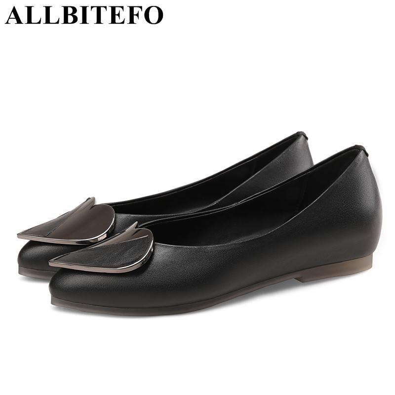 4a491994bf9 ALLBITEFO Genuine Leather Metal Charm Women Flats Casual And Comfortable  Flat Shoes Office Ladies Shoes Flats For Women Office Shoes Running Shoes  From ...