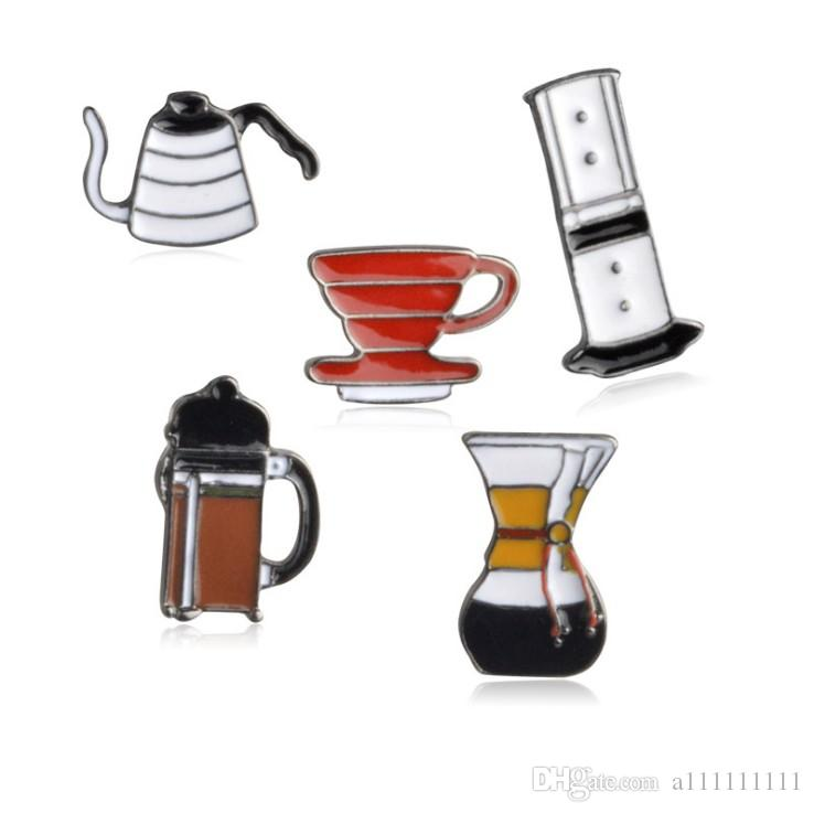 High Quality 5 style Creative Fashion Enamel Pins Quality Coffee Machine Drinking Fountain Teapot Cup Brooch Buttons Badges