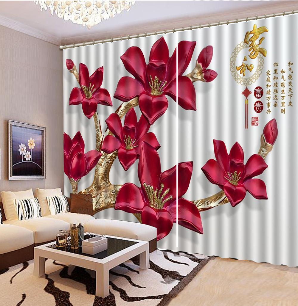 Custom 3D Curtain Home e Rich Red Beauty Like 3d Floral Curtains Interior Decorating Belle tende