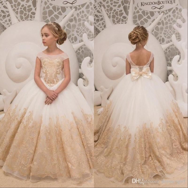 58456660e93 Off Shoulder Flower Girl Dresses With Gold Lace Appliques Bow Sash Ball  Gown Girls Pageant Dress Kids Formal Wear Maxi Dresses Dress From  Dressesgirl