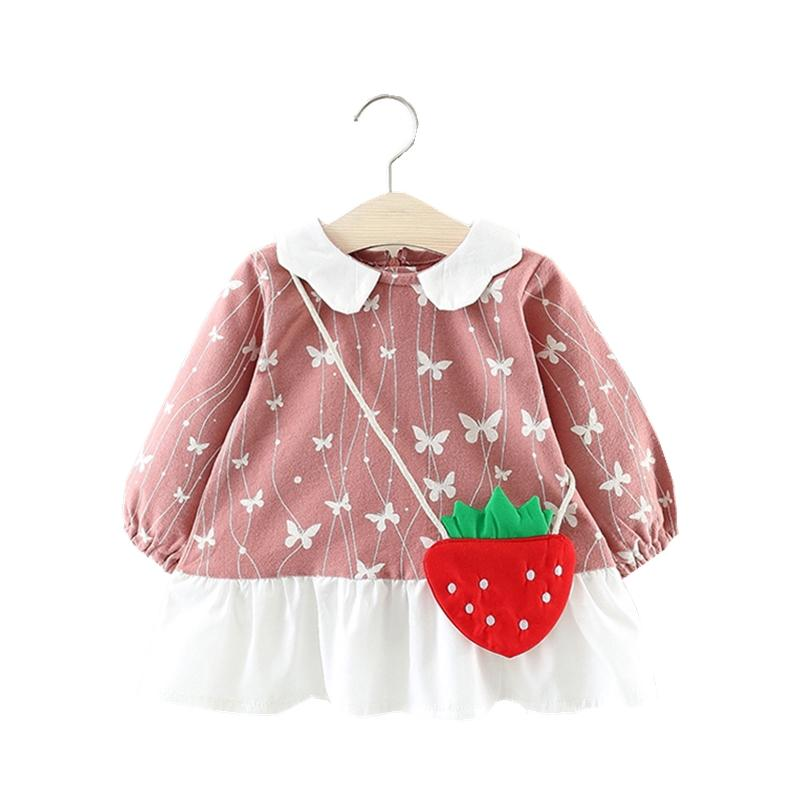 119360325b5fd Brand Long Sleeve Butterfly Pattern Baby Girl Dress Cute Party ...