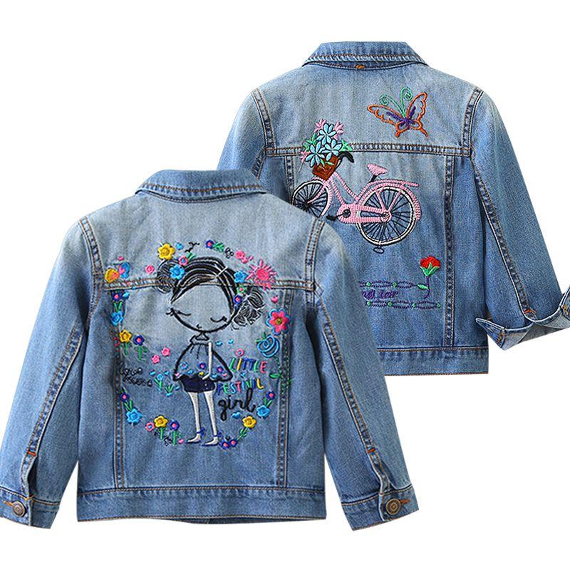 59ce8b0ef New Girls Denim Jackets Coats Pretty Embroidery Children S Clothing ...