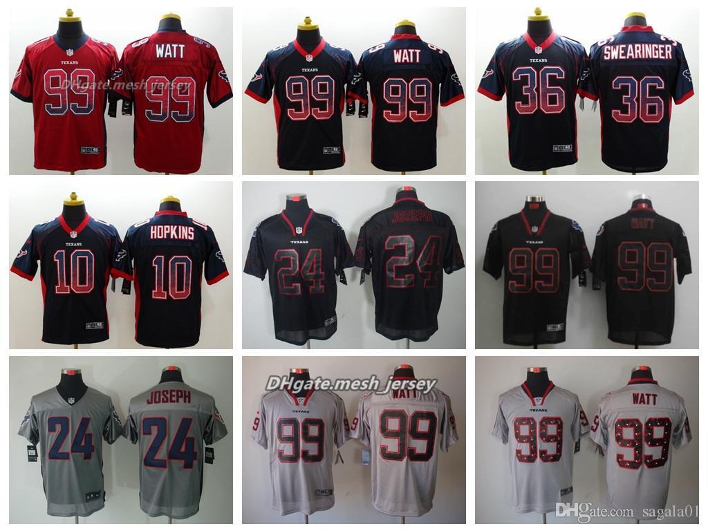 size 40 0c9ae bbed1 Men Houston Jersey Texans 99 J.J. Watt 10 DeAndre Hopkins 36 K. J. Dillon  24 Johnathan Joseph Color Rush Football Stitching Jerseys