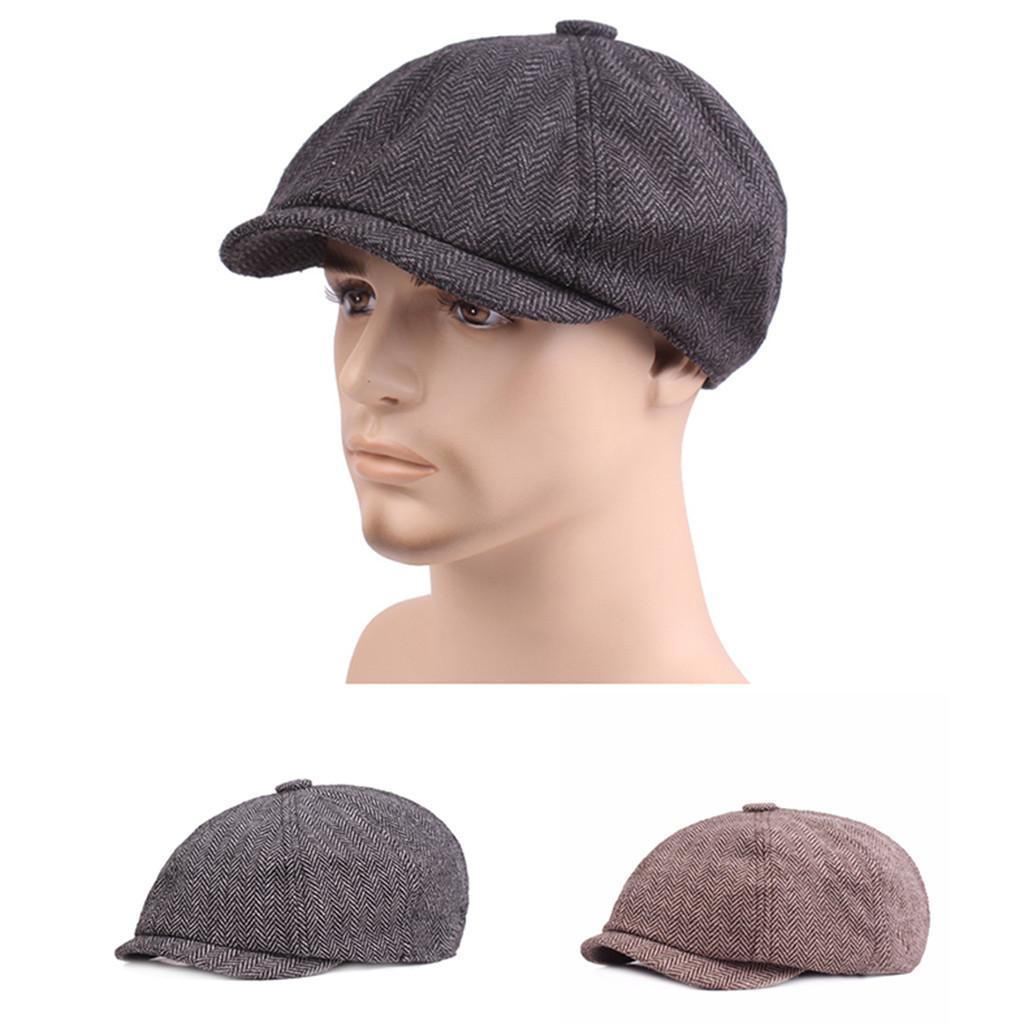 d86d6e80efca9 2019 MUQGEW NEW Mens Gatsby Hats Fashion Black Grey Herringbone Newsboy  Baker Boy Tweed Flat Cap Outdoor Wholesale  Dropshipping From Yuijin