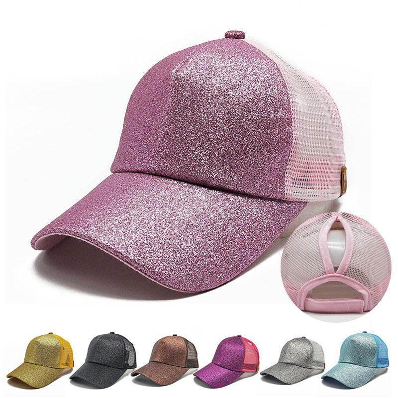 3a6485ea794fe C Label Glitter Ponytail Baseball Cap Fitted Hat Messy Bun Snapback Hip Hop  Caps Women Mesh Designer Hats Army Hats Custom Caps From Coslab