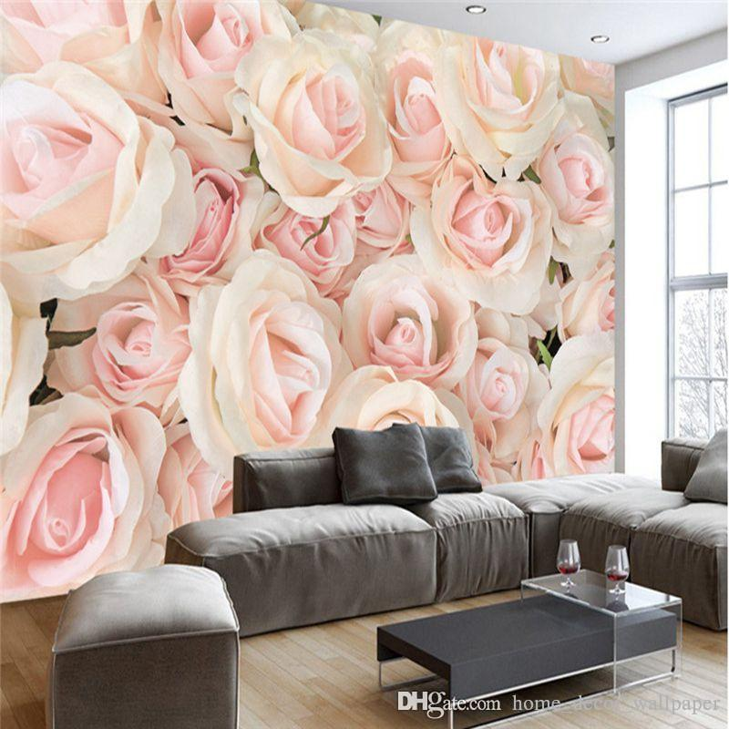 Custom 3D Large Mural Big Red Pink Rose Romantic And Warm Photo Wallpaper For Wedding House Wall Mural 3D Wall Papers