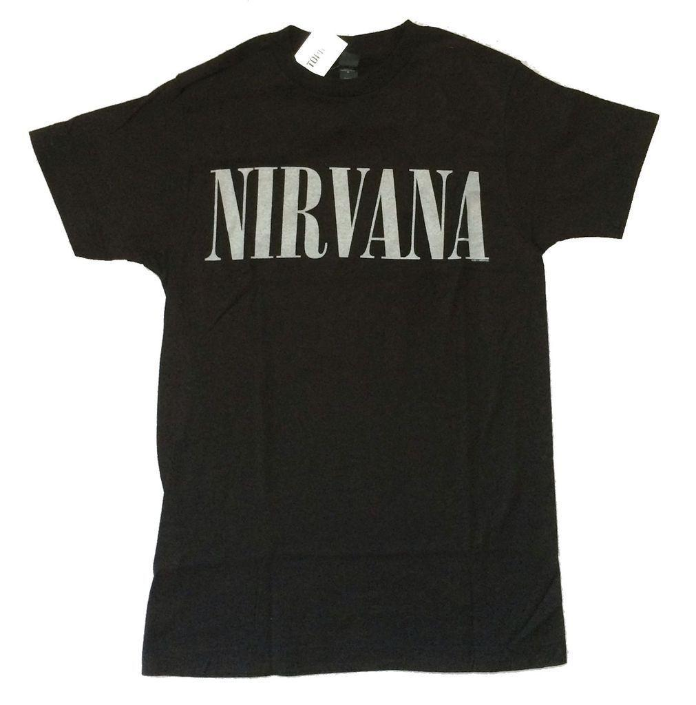 65924546f0 Nirvana Metallic Silver Glitter Name Logo Black T Shirt New Official Soft  Funny free shipping Unisex Casual Tshirt top