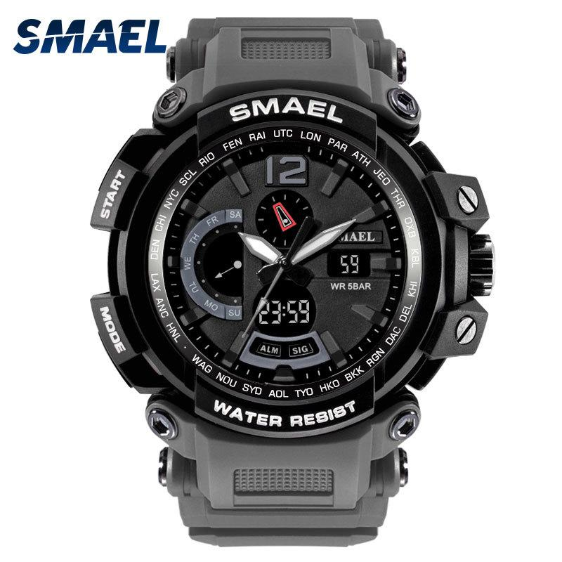 SMAEL Brand LED Watch Waterproof 50M Sport Wrist Watches Stopwatch 1702 Grey Military Watch Digital LED Clock Army Watch for Men