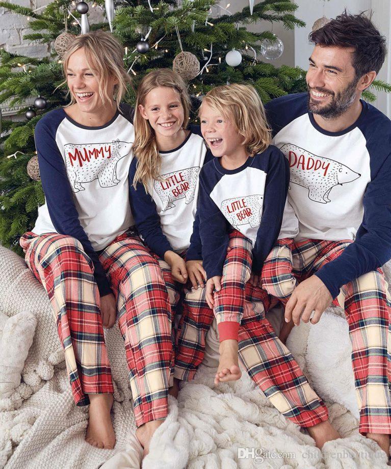 0b90234322 Family Christmas Pajamas New Year Family Matching Outfits Mother Father Kids  Baby Clothes Sets Xmas Bear Printed Pajamas Sleepwear Nighty Family Dress  Alike ...
