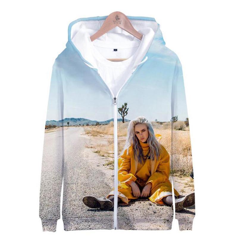 964126c25 2019 Music Singer Star Billie Eilish 3D Printed Women Hoodies Sweatshirts  Long Sleeve Funny Hooded Zipper Jacket Female Bomber Jacket From Lichunn,  ...