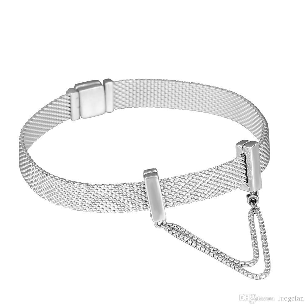 2018 Autumn Argento 925 Riflessioni monili Catene galleggianti perle a catena fascino di sicurezza è adatto gioielli Pandora collana dei braccialetti le donne
