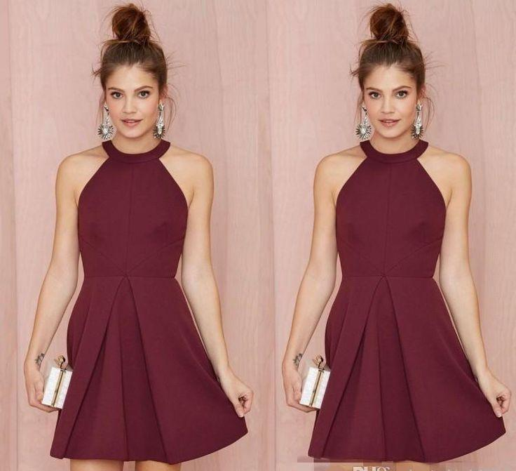 Sexy Simple Junior Burgundy Cocktail Dresses Halter Short Prom Dresses Sleeveless Evening Party Gowns Cheap Homecoming Dress M120