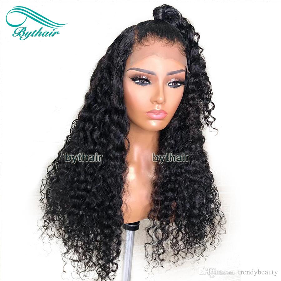 Lace Front Human Hair Wigs Natural Curly Pre Plucked Brazilian Virgin Hair Full Lace Wigs With Thick Baby Hairs For Black Women Bythair