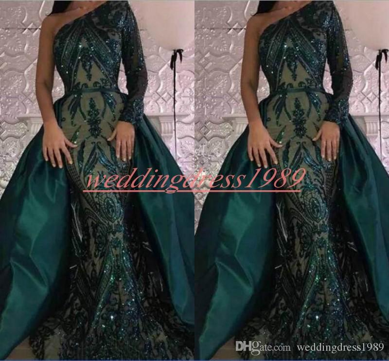Luxury Sequins Long Sleeve Mermaid Evening Dresses Detachable Skirt One Shoulder Green Party Wear Robe De Soiree Prom Ball Pageant Gown