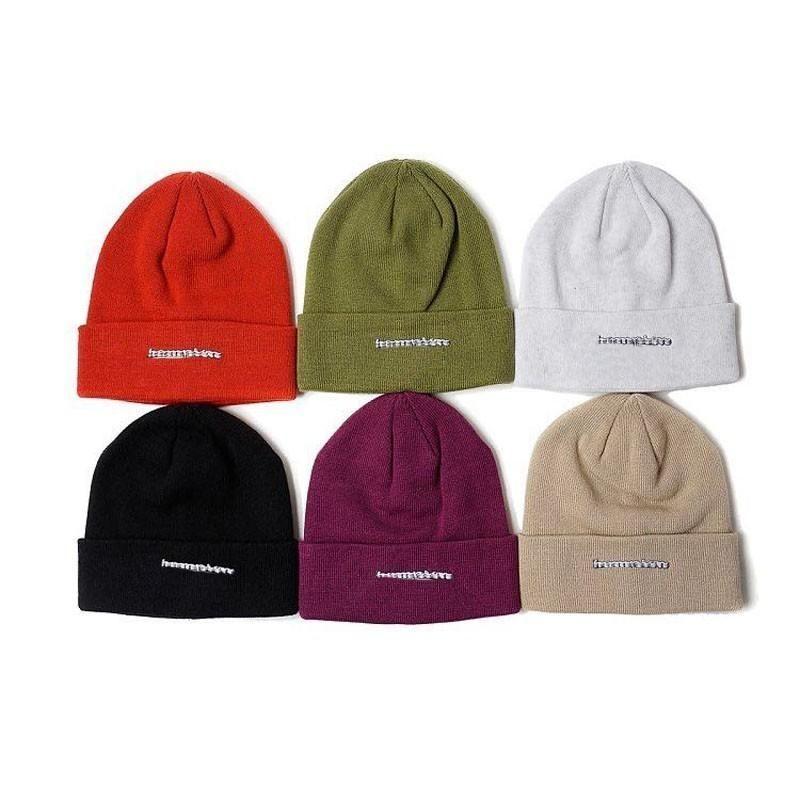 18FW Box Logo X Cham 3D Metallic Beanie Cold Cap Knitted Hat Cap Street  Travel Casual Autumn Winter Hat Warm Outdoor Sport Hats HFYMMZ015 Box Logo  X Cham 3D ... 7a2b324345c