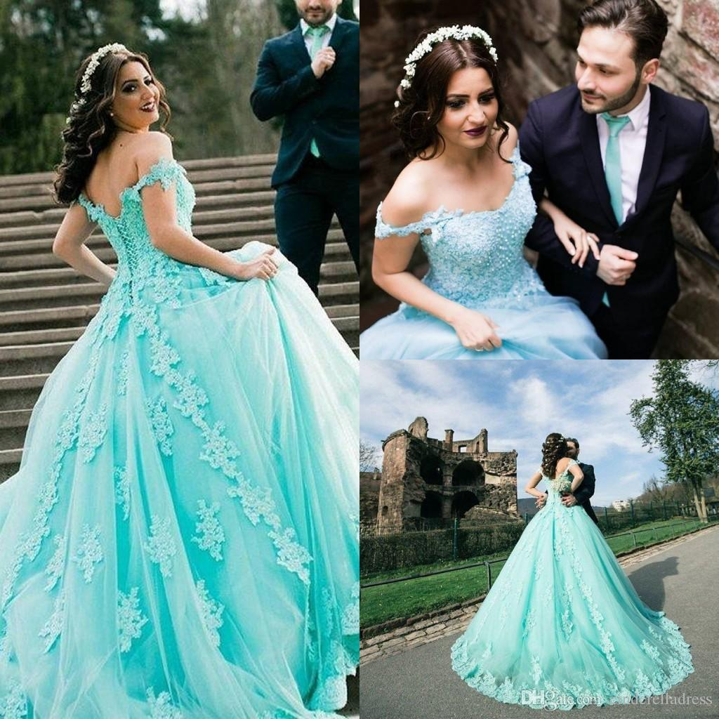 Mint Green Ball Gown Year Lace Applique Wedding Dresses 2019 Off Shoulder Pearls Plus Size Bridal Gowns Black Cheap From: Mint Green Wedding Dress At Reisefeber.org