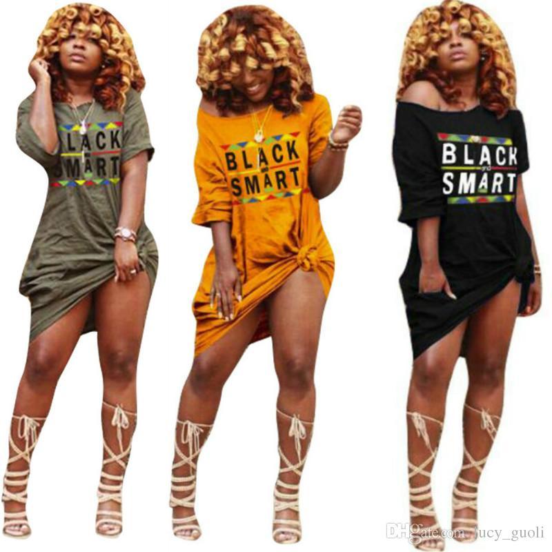 5acbf252b00c Acquista Abiti Da Donna Estivi Stampa Allentata Stampa Abito Manica Corta Moda  Abiti Sexy Spalla Fuori Abiti Taglie Forti Streetwear T Shirt Dress A  8.98  ...