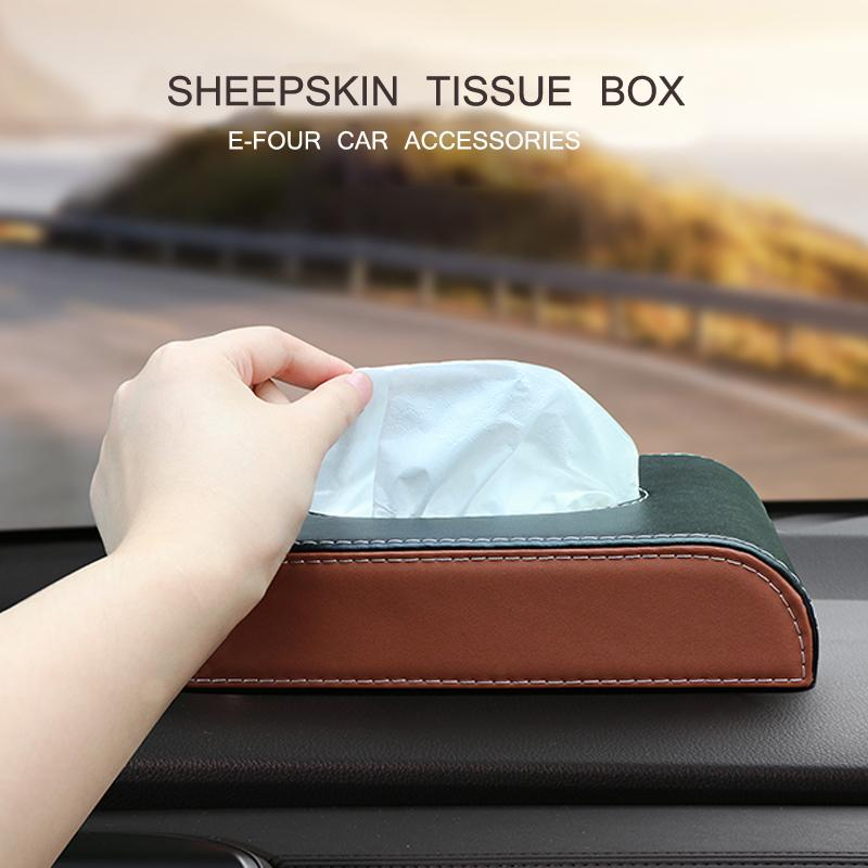 E-FOUR Car Tissue Box Leather Napkin Holder Universal Box Cover for Home Office Car Automotive Decoration Stowing Tidying Cars