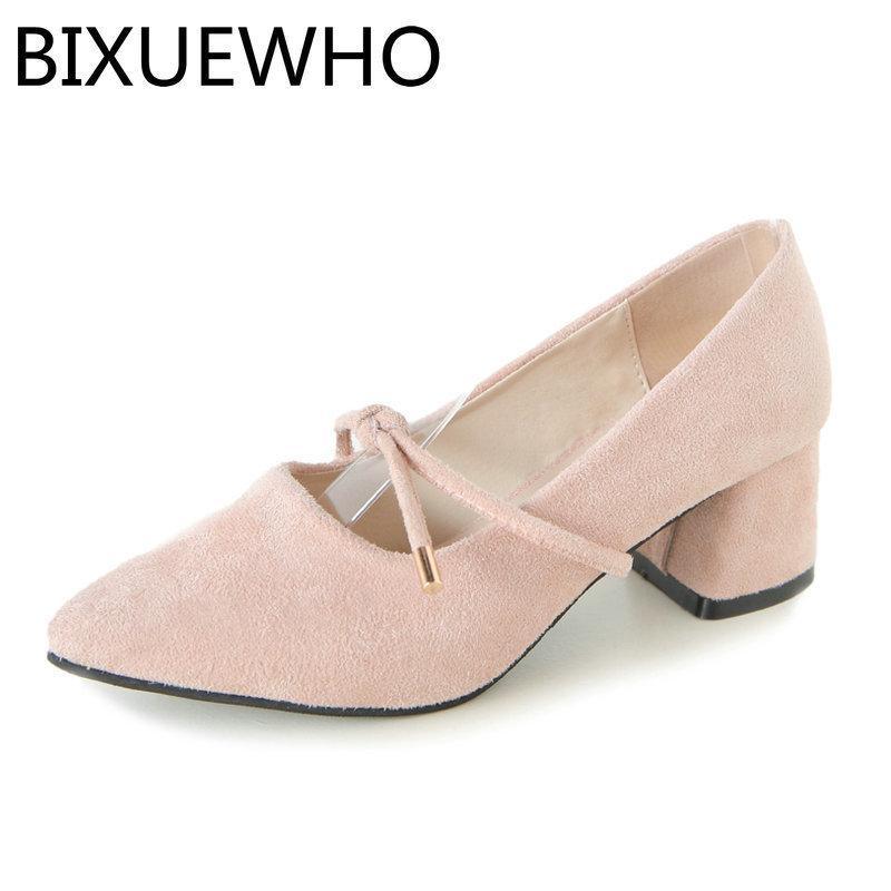 5dfb84277 Compre Sapatos De Vestido 2019 Nova Chegada Primavera / Outono Feminino  Bombas Dedos Apontados Das Mulheres Quadrado Med Saltos Slip On Mulher Flock  Vestido ...