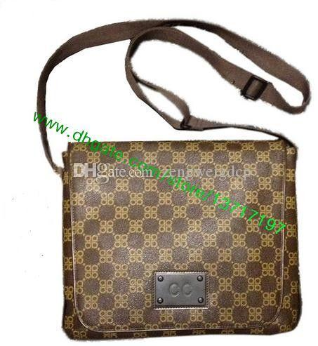 Top Grade Brown tela rivestita Vera Pelle Brooklyn Messenger Bag N51211 N51210 Uomini Croce Spalla Borsa a tracolla