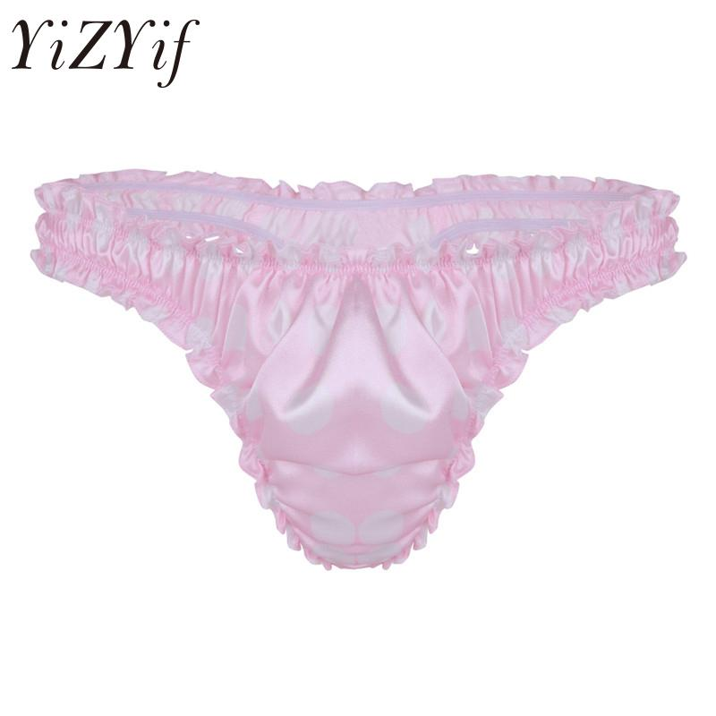 3cce9af6618b 2019 YiZYiF New Sexy Men Lingerie Soft Lace Shiny Satin Thong Bikini  Underwear Sissy Bulge Pouch Underpants Gay Jockstraps Panties From Purlove,  ...
