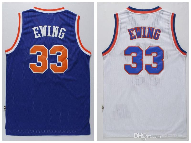 790dc7bf6 Cheap Men's #33 Patrick Ewing Jersey Best Quality Blue White Patrick Ewing  Shirts Stitched Free Shipping