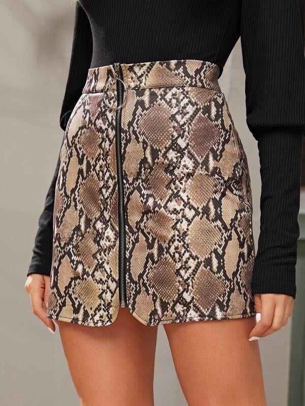 Kadınlar Seksi Serpantin Mini Etekler Moda Sonbahar Kış Yukarı Kalem Etekler Yüksek Bel Mini Yılan Cilt Baskılı BODYCON Etek Zip