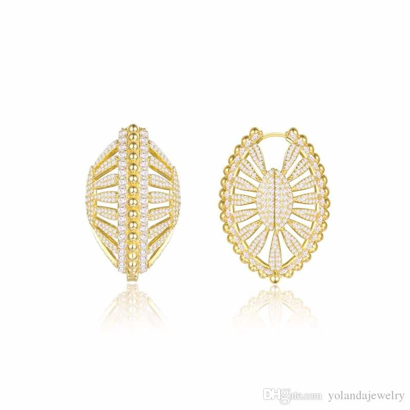 Europe and America New Fashion Yellow Gold Plated Full CZ Shell Hoops Earrings for Girls Women Nice Gift for Friend