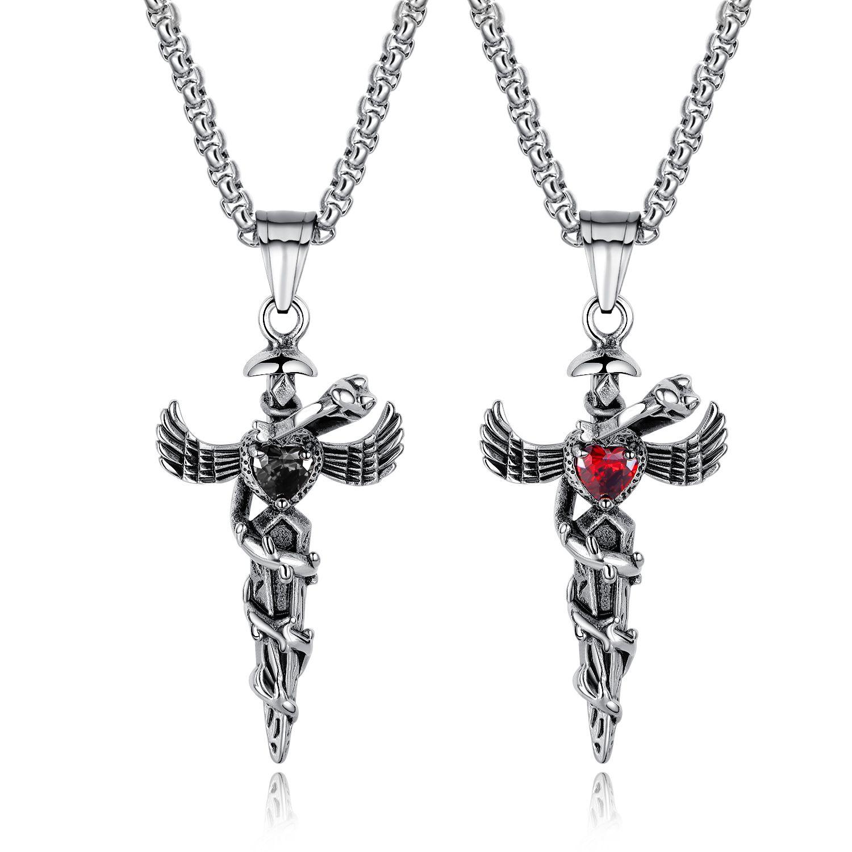 sito affidabile 9d3c9 0e8ac 2019 Men s New Snake Wings In acciaio inox Collana lunga Collana pendente  ciondolo Collana da uomo
