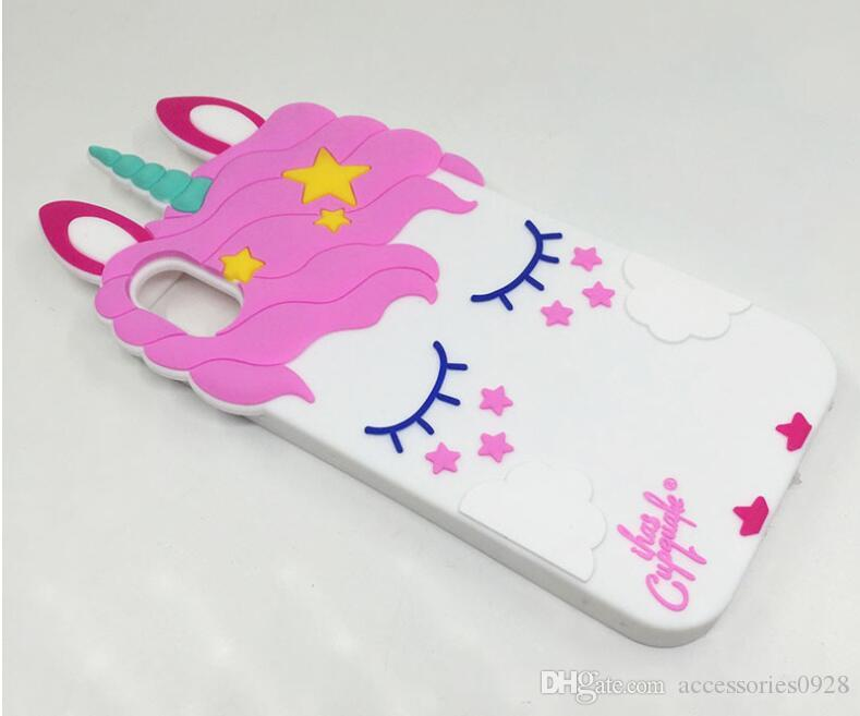 Pink Blink Eyelashes App per iphoneX Mobile Shell Custodia in silicone per Cartoon Unicorn Apple 7Plus