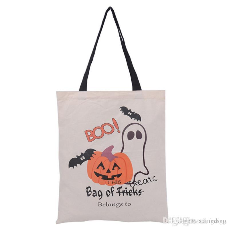 High Standard Halloween Hand bag Portable Festival Eco-friendly Canvas Large Capacity Customized Christmas Durable Tote Bag DH0095