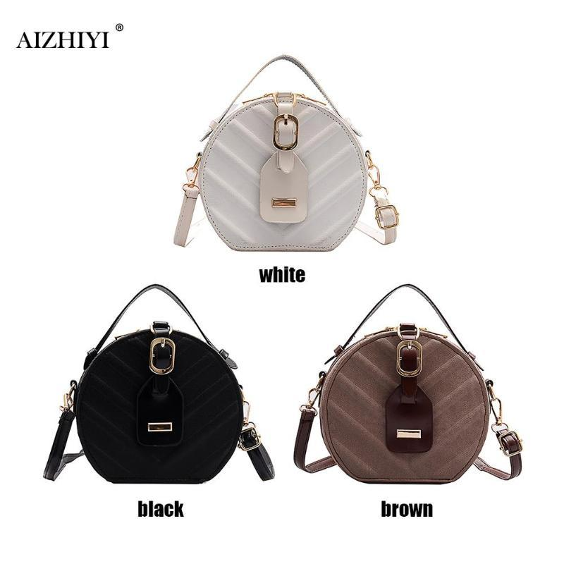 2019 New Vintage Small Round Bag Pu Leather Handbag for Women Fashion Simple Black Shoulder Messenger Bag Ladies Mini Tote