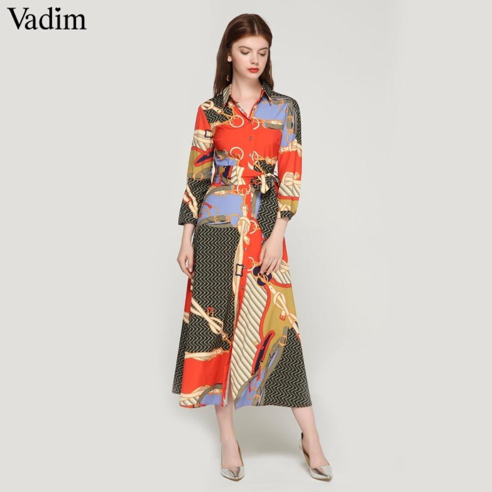 6c11742b22 2019 Vadim Women Elegant Patchwork Print Maxi Dress Bow Tie Sashes ...