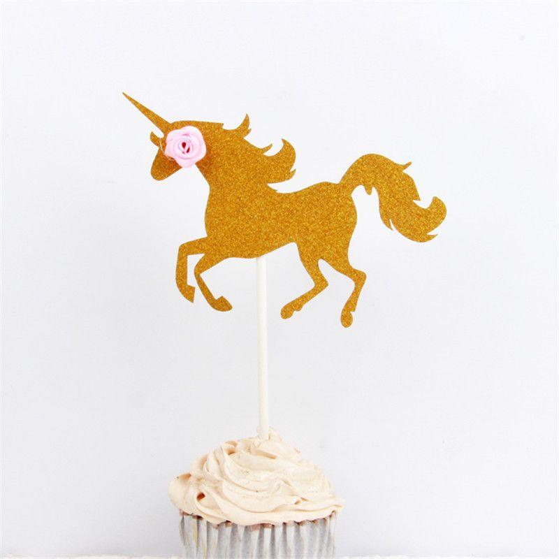أدوات كأس يونيكورن الحصان كعكة القبعات العالية كب كيك بيك ديكور الاطفال عيد ميلاد الحزب الحسنات جديد