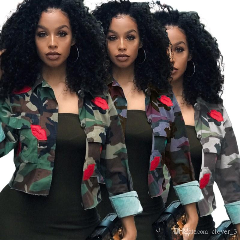 women designer jacket coat outerwear shirt autumn winter womens tops fashion classic camouflage print coats blouses womens clothing klw2445