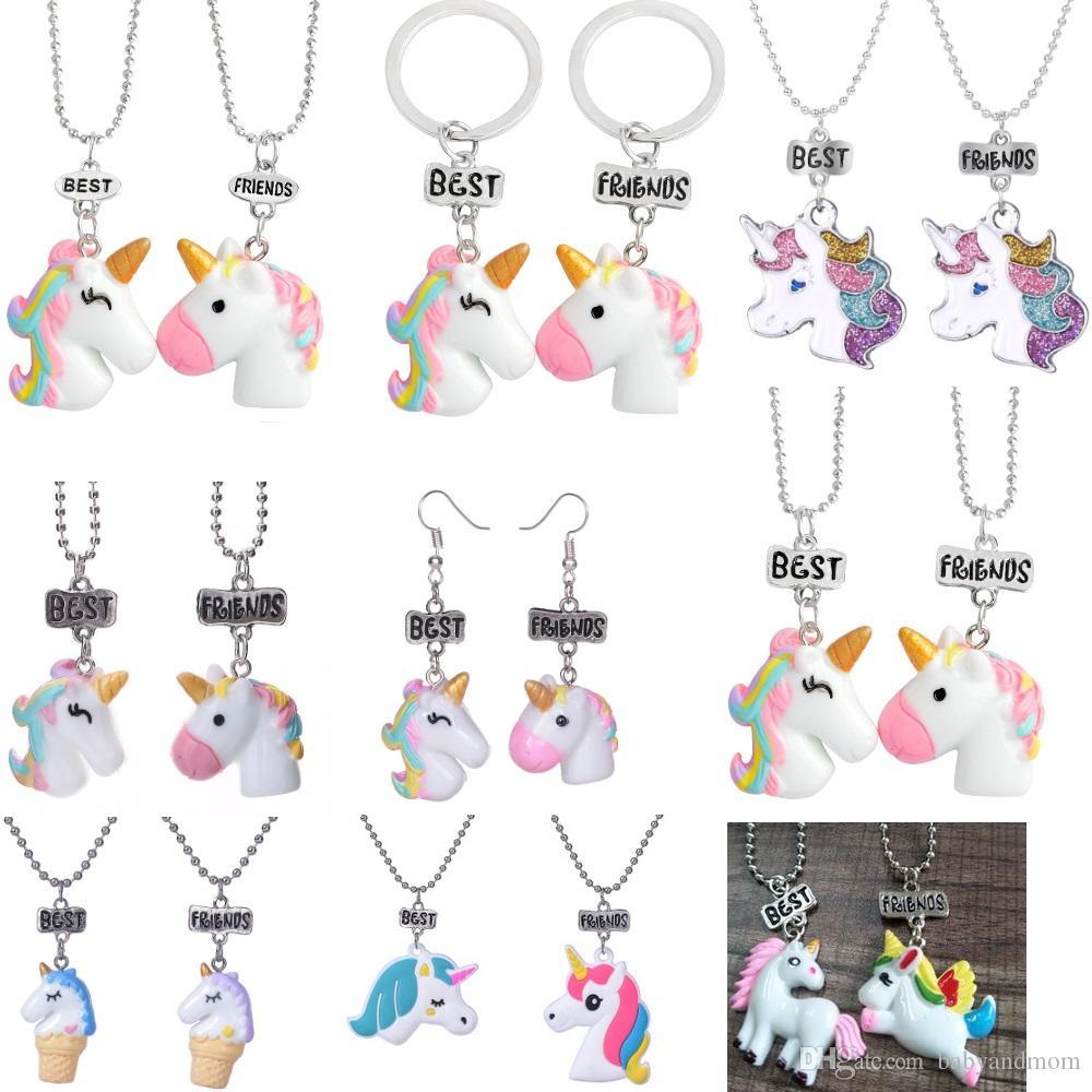 4854a5208a60 2 unids / lote Mejores Amigos Collares pendientes Llaveros Pendientes  Joyería de Los Niños Lindos BFF unicornio collar Animal de Dibujos Animados  ...