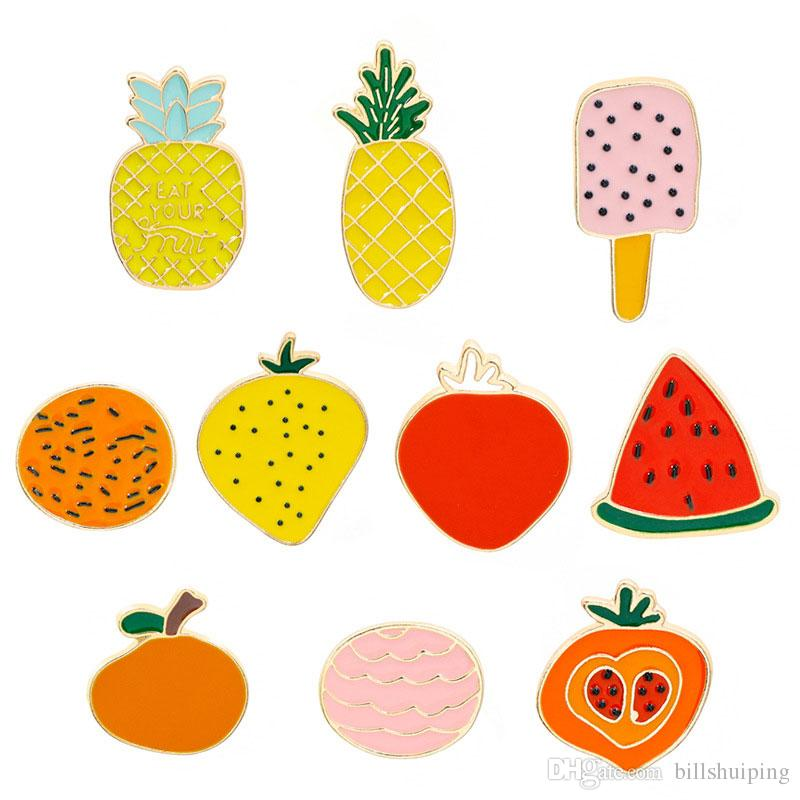 New Watermelon Pineapple Orange Strawberry Sumer Jewelry Cute Brooch Shirts coat bag Pin Badge Free Shipping