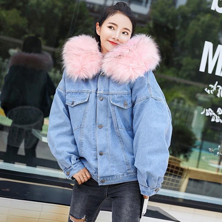 5dfd181c85e Winter Big Faux Fur Collar Hooded Jacket Women Oversized Batwing Sleeve  Denim Jackets Warm Jeans Coat Jackets On Sale Jackets For Sale From Yukime