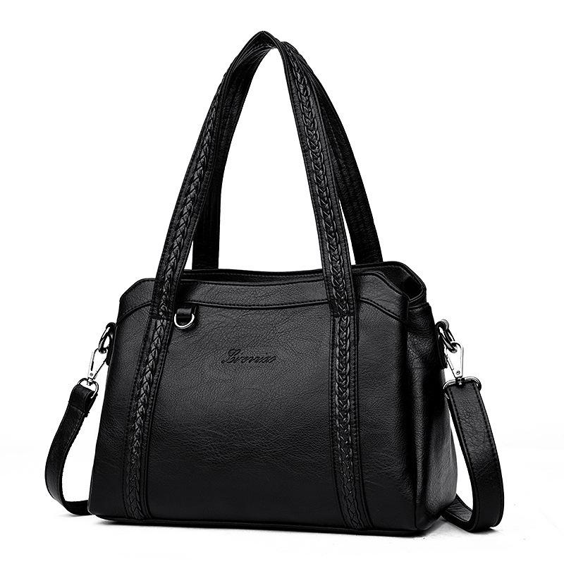 d253897dc0 3 Pockets Women Leather Handbags 2019 Brand Designer Female Shoulder Bag  Knitting Fashion Casual Tote Bags For Ladies Luxury Bags Handbags Wholesale  From ...