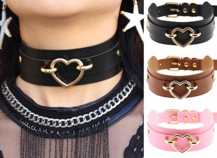d7a838f38ce30 Pu Leather choker Heart Collar Bondage Goth Choker women belt necklace punk  Trendy Rock Sexy Gothic jewelry GB355